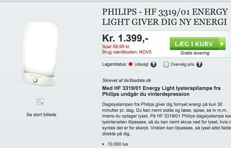 Lys terapilampe 10.000 Lux fra Phillips