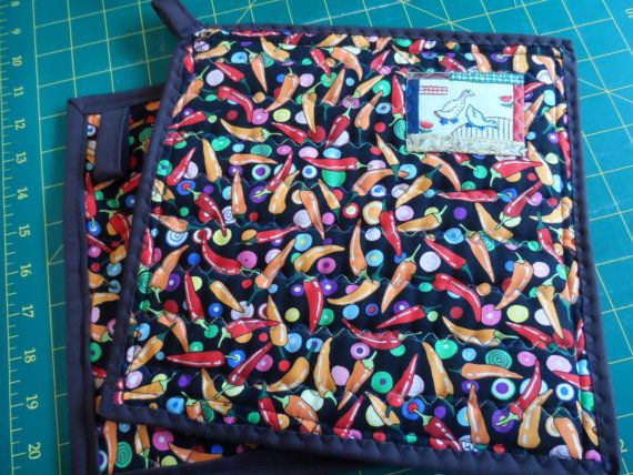 Quilted Pot Holders  Mitten Pot Holders  Large Pot by Fiberartplus, $16.50