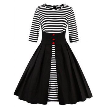 SHARE & Get it FREE | High Waist Striped Button Embellished DressFor Fashion Lovers only:80,000+ Items·FREE SHIPPING Join Dresslily: Get YOUR $50 NOW!