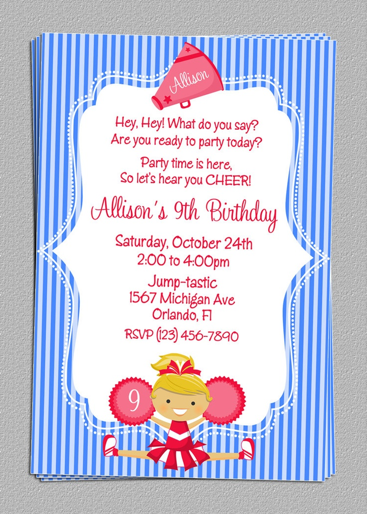 13 best Cheerleader Birthday Party Ideas images – Cheerleading Birthday Party Invitations
