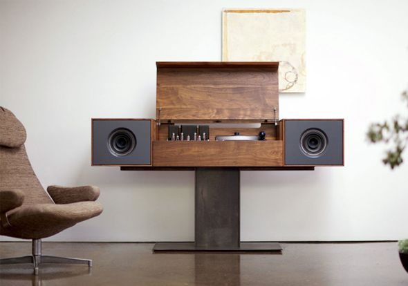 "Modern Record Console from Symbol Audio ... A little touch of ""vintage"" Braun (White coffin), a little touch of ""vintage"" Brionvega (RR 126) , the wood touch of the ""vintage"" clairtone and a major touch of class & modernity"