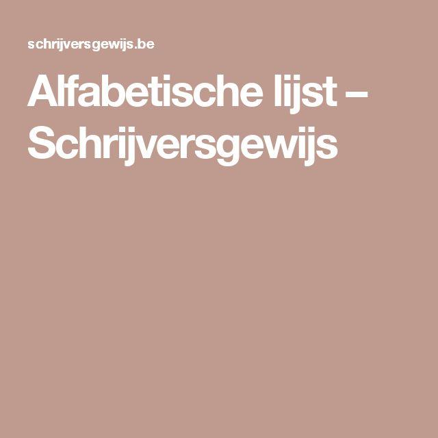 Alfabetische lijst – Schrijversgewijs