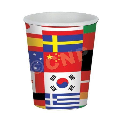 International Flag 9 Oz. Cups - 8 Pack: International Flag 9 Oz. Cups - 8 Pack
