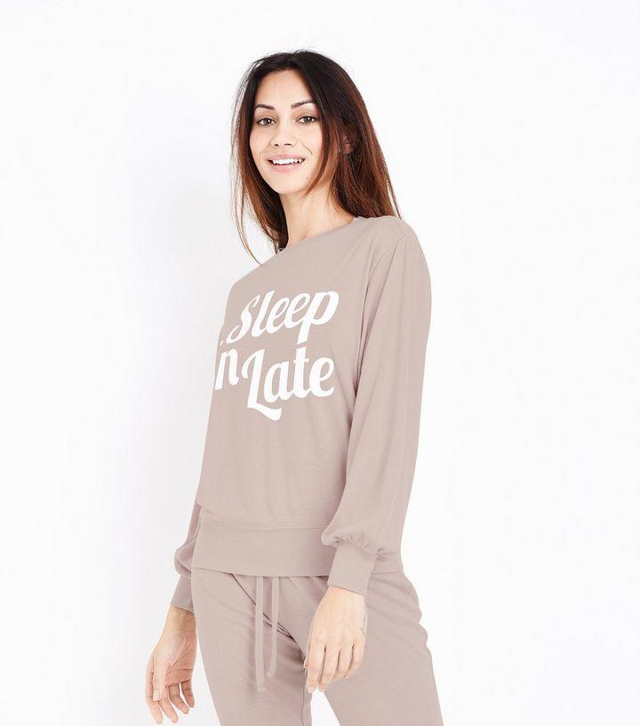Mid Pink Sleep In Late Slogan Front Pyjama Top   New Look