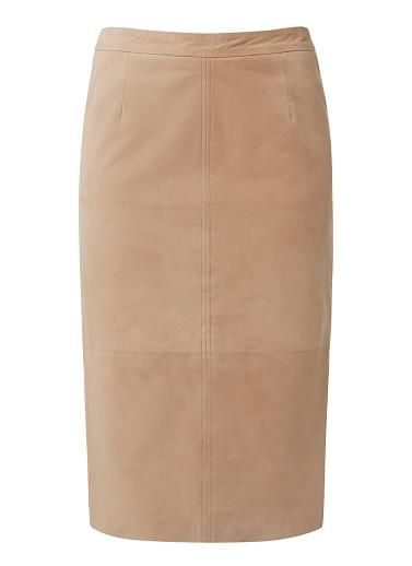 100% Leather Suede Pencil Skirt. Neat fitting silhouette features a fixed waistband with invisible back zipper and vent at midi hem in an all over leather suede. Available in Nude Suede as shown.