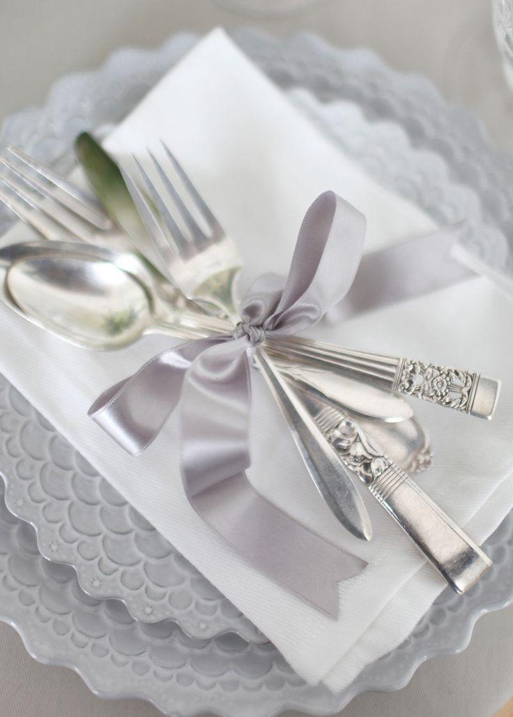 Gray ribbon with burlap to tie silverware?