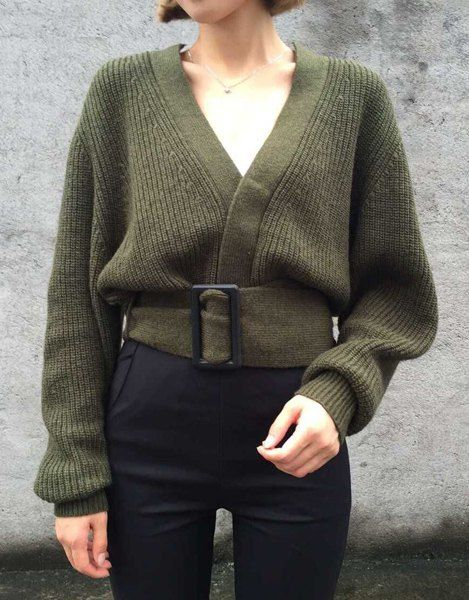 Stylish Belted Olive V Knit ~