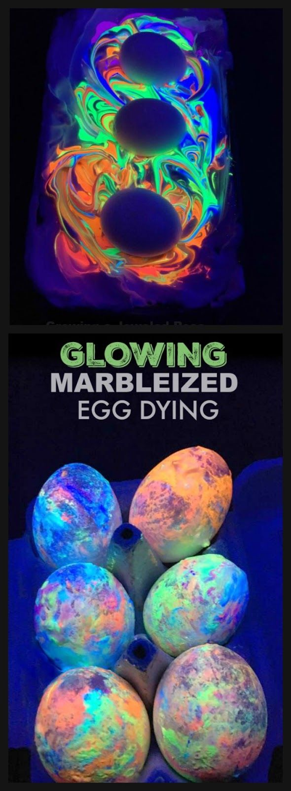 Glowing marbleized egg dying with shaving cream. SO COOL! I can't wait to try this! The entire process is stunning, and the end result BEAUTIFUL!