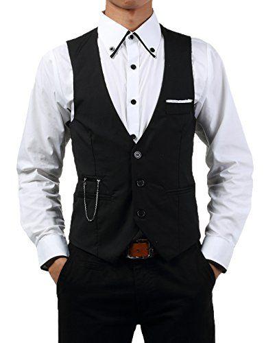 TRURENDI New Men slim FIT waistcoat Vest Casual Business Waistcoat Vest tops (Asia M (US XS), Black)