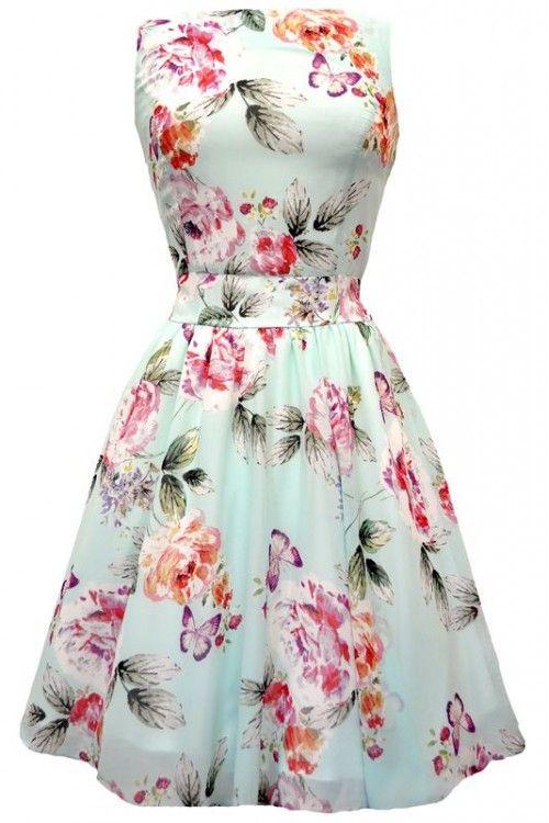 Lady Vintage Cool Mint Floral Chiffon Tea Dress Lady