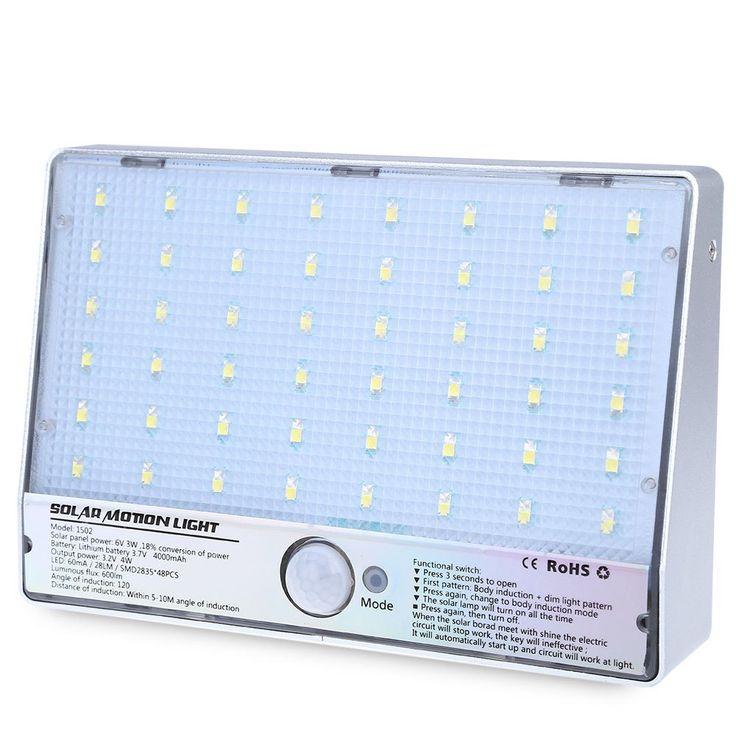 600LM 48 LED Solar Power Street Light Motion Sensor Light Garden Security Lamp Outdoor Street IP65 Waterproof Patio Wall Lights