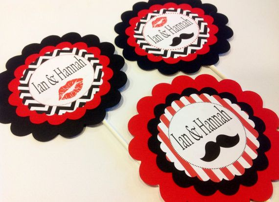 3 - Lips & Mustache Party Centerpieces - Red and Black - Engagement Party - Matching Party Packs Available on Etsy, $15.00
