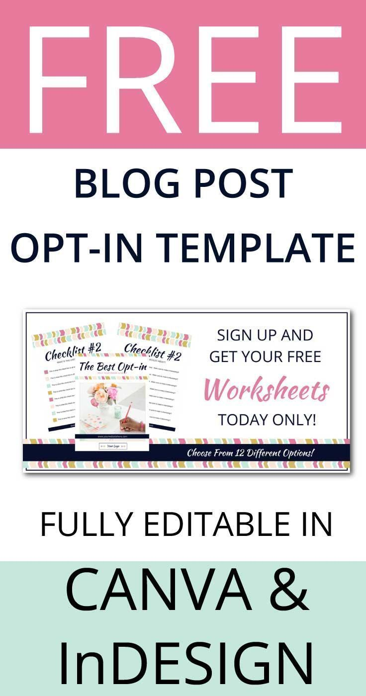 Freebie Blog Post Opt In Template For Canva And Indesign Lady Boss Studio Blogging Freebies Blog Post Graphics Blog Tips