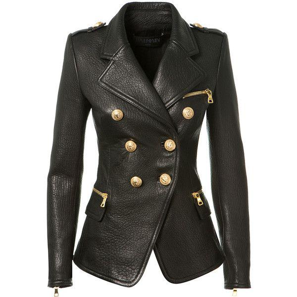 Balmain Black Textured Leather Blazer ($3,215) ❤ liked on Polyvore featuring outerwear, jackets, blazers, balmain blazer, balmain, black jacket, black blazer and balmain jacket