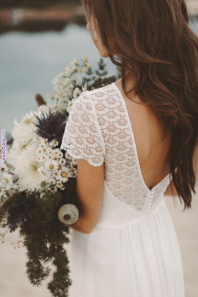Boho Brautkleid Spitze Ruckenausschnitt Vintage Hochzeitskleid