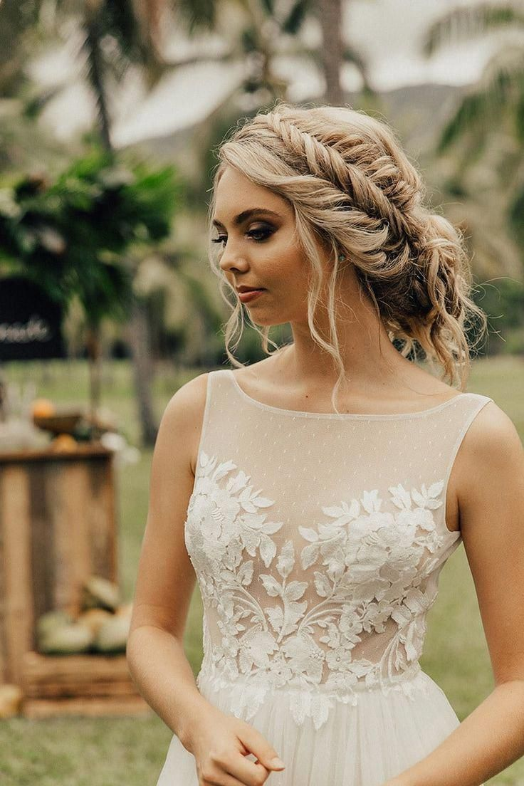 Romantic Wedding Hair With Boho Braid Updo And Wedding Dress With
