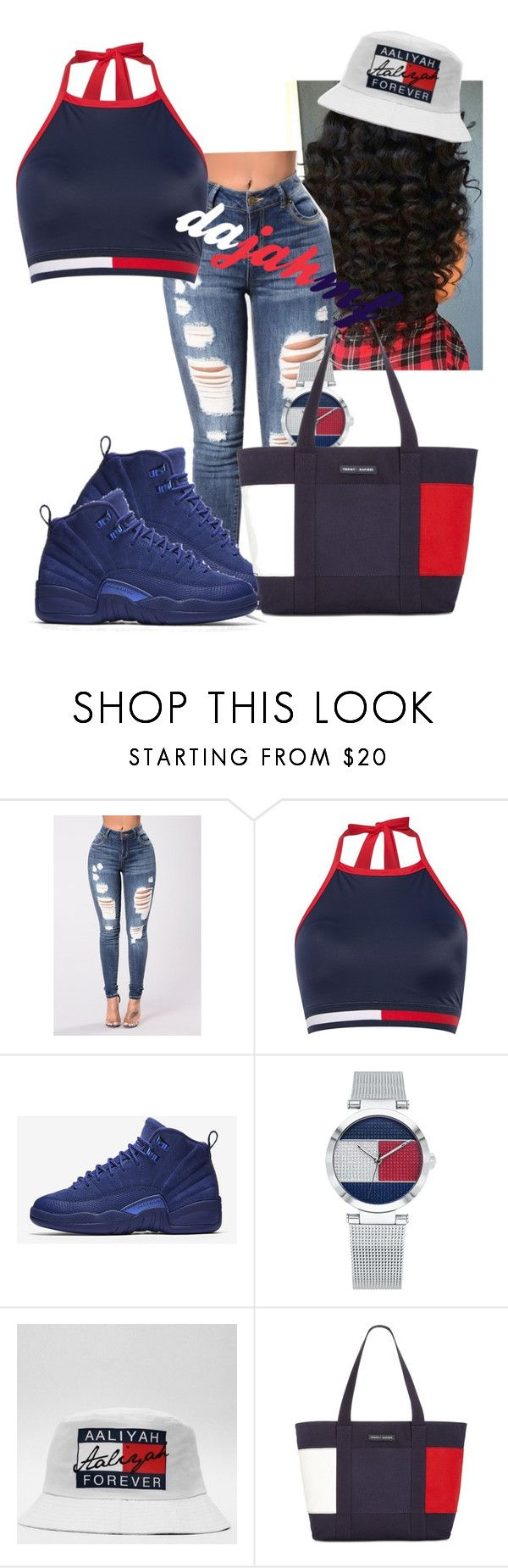 """""""ask tommy hilfiger it out"""" by dajahmf ❤ liked on Polyvore featuring Tommy Hilfiger and NIKE"""
