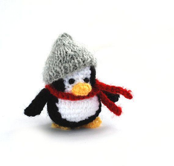 $31.34 crochet penguin, tiny #penguin doll with grey hat and #redscarf, little penguin doll, little crochet cuteness, #tinypenguin, winter decor, #handmadegift by crochAndi