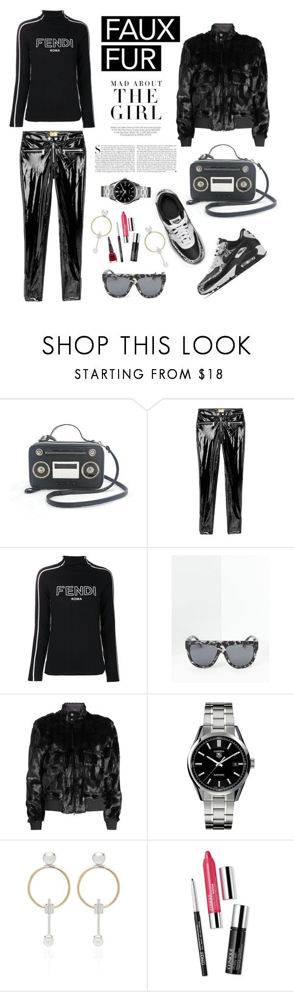 """""""Wow Factor: Faux Fur"""" by shortyluv718 ❤ liked on Polyvore featuring Kershaw, Fendi, Missguided, Steffen Schraut, TAG Heuer, Wasson, Clinique, Manic Panic NYC and fauxfur"""