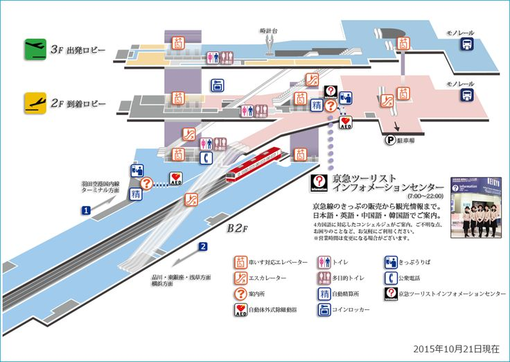 羽田空港国際線ターミナル駅の設備図です