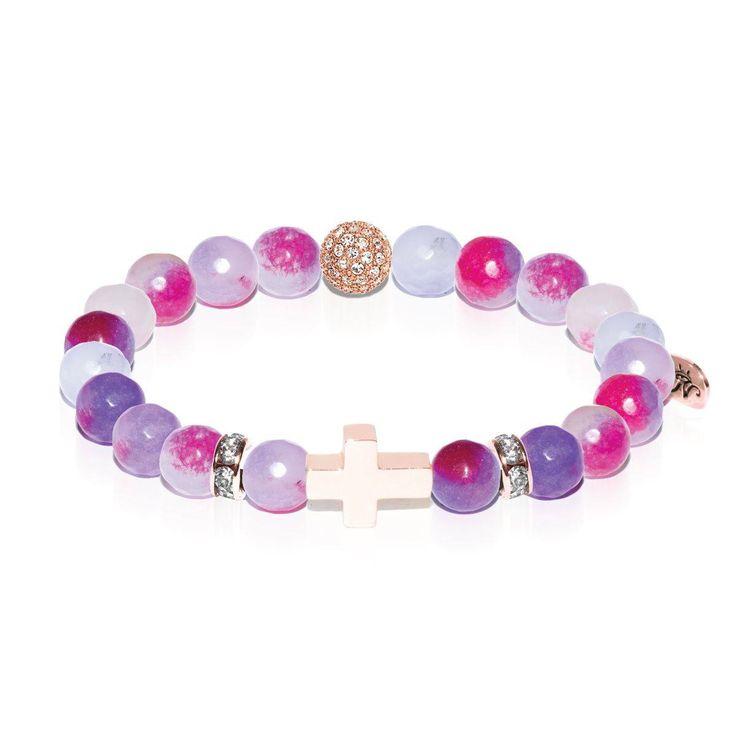 St. Michael   Rose Gold Cross   Rainbow Color Jade Bracelet