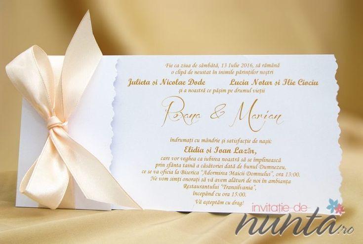Invitatie de nunta cu fundita satinata Silky Salmon.