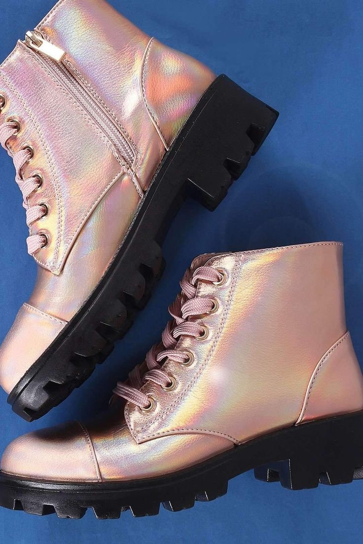 Bamboo Holographic Lace Up Combat Ankle Boots