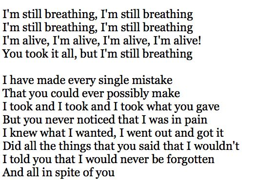Sia - Alive. Lyrics that no one but me will never know how much they resonate
