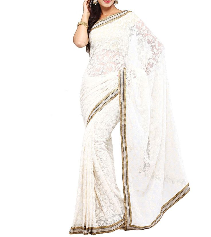 White Embroidered Net Saree