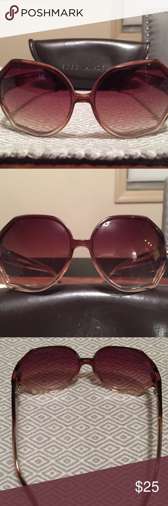 EUC $99 BCBG MAX AZRIA Vintage Style Sunglasses EUC $99 BCBG MAX AZRIA Vintage Style Gradient Sunglasses  Brand: BCBG Max Azria Style #: B340 BRNF Color: Rose/Champaigne Gradient & Gold hardware MSRP: $99 *Original case included  These Handmade plastic frames have a unique geometric angled edge that gives them that extra vintage flare! The subtle gradient transitions from a dusty rose color at the top of the frames to an almost clear champagne color at the bottom of the frames.   *NO…