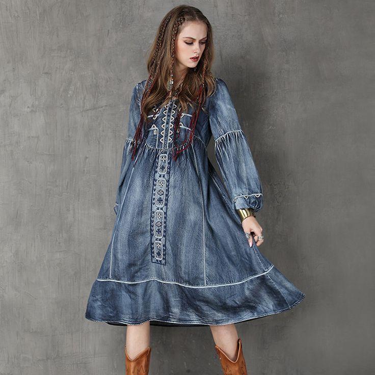 Long Sleeve Embroidery Denim Dress
