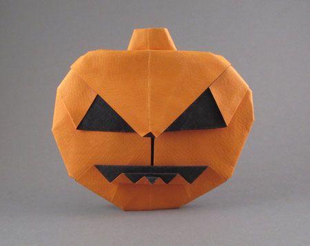 Halloween origami for kids: paper Pumpkin tutorial