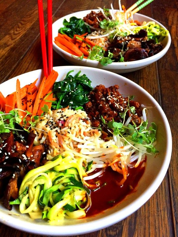 Vegan Beef & Vegetable Bibimbap Bowls #BeyondMeat