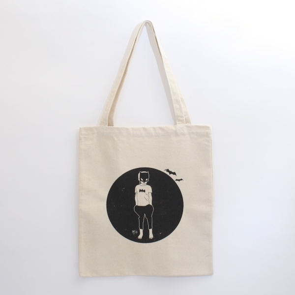 Ragdoll illustrations - Bat Boy Tote Bag http://ikoiko.co.nz/products/ragdollillustrationsbatboytotebag