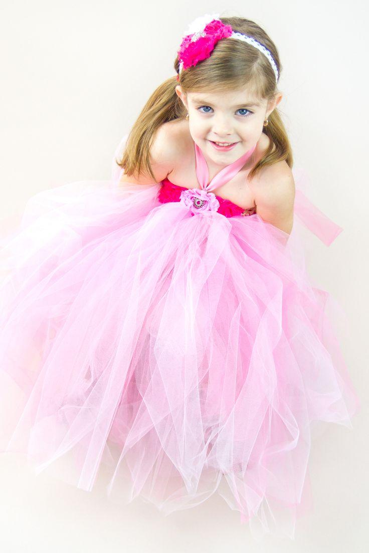 Flower girl tutu shabby chic tutu dress in shades of pink, sparkle, satin ribbon tie.