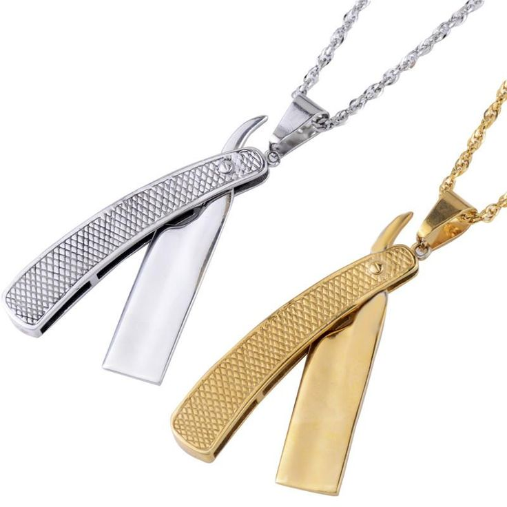Fashion and personality professional barber tools razor gold jewelry stainless steel necklace pendant for man