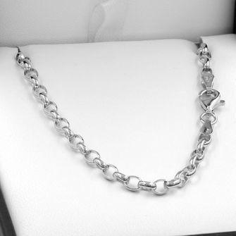 45cm Sterling Silver Oval Belcher Chain Necklace - SN-BO2