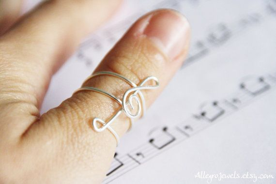 Treble clef ring music ring silver plated copper by AllegroJewels