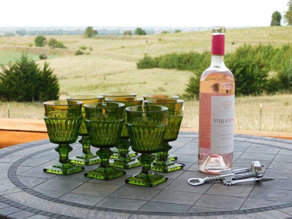 Green Glass Wine Goblet Set of 8 by LittleDixieVintage on Etsy