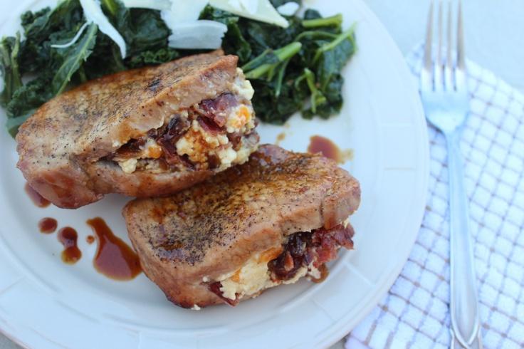 Bacon, Apricot Stilton, Chopped Date Stuffed Pork Chops