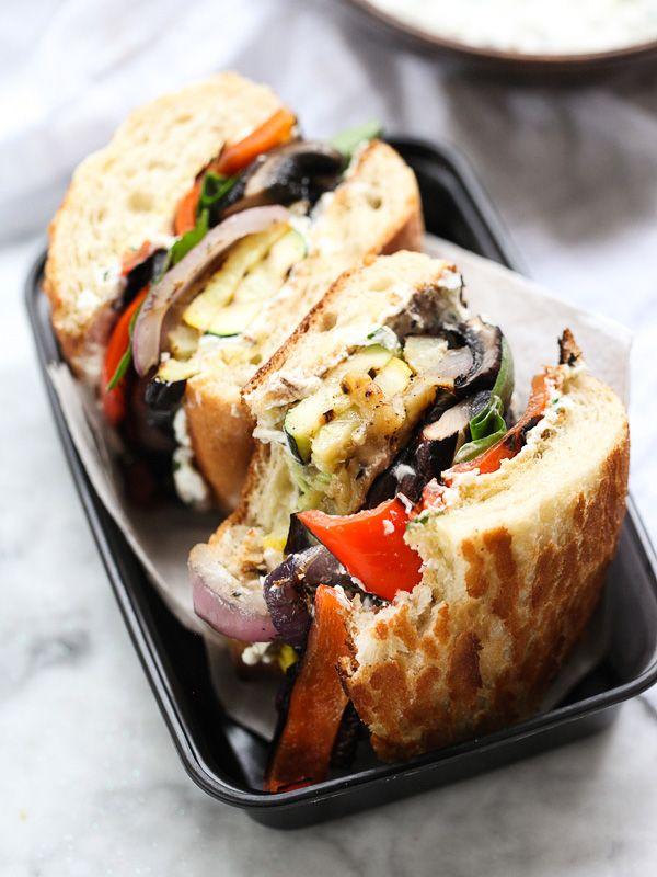 Grilled Vegetable Sandwich w herbed ricotta. Zucchini. Squash. Eggplant. Peppers. Mushrooms. Onions. Arugula. Radicchio.