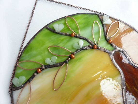 add copper wire and beads #StainedGlassTutorial