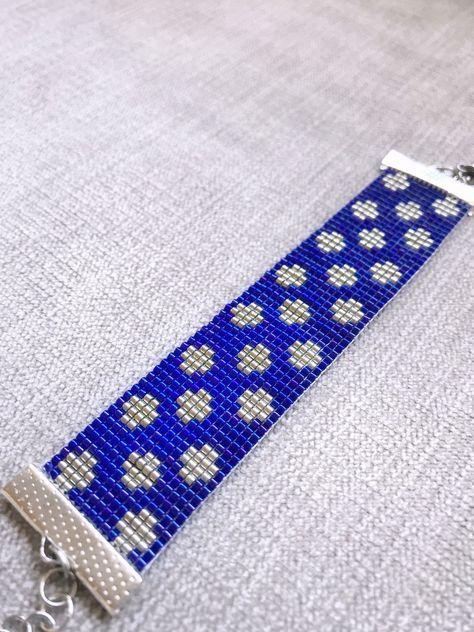 Blue Silver Miyuki Bead Bracelet by AyshasBracelets on Etsy https://www.etsy.com/uk/listing/583317603/blue-silver-miyuki-bead-bracelet