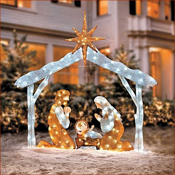 Stunning Led Twinkle Lighted Nativity Scene W Stable