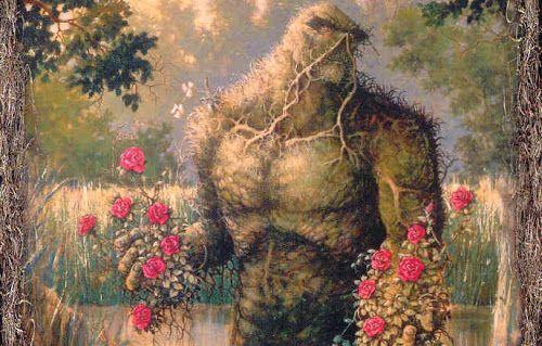 O Monstro do Pântano, em meio a seu habitat, oferece buquês de flores vermelhas - do blog Sun Tzu e A Arte da Guerra (http://www.suntzulives.com/).