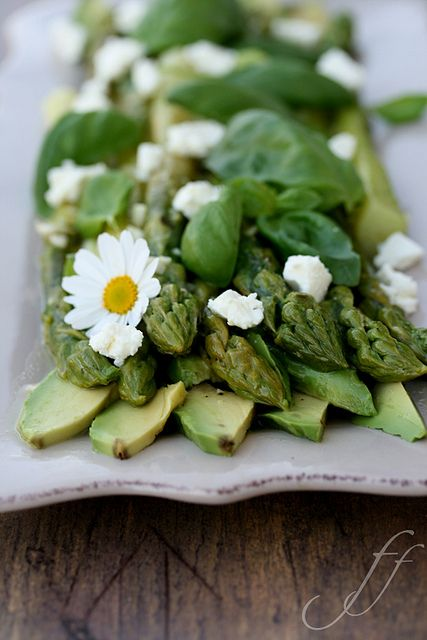 Avocado, Asparagus, Basil, & Feta Salad Instead of basil ill used fresh baby spinach