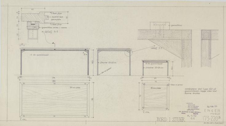 Arkitekt Are Vesterlid: Stuebord til Villa Engen. (Vi har ennå ett i bruk) DigitaltMuseum.no
