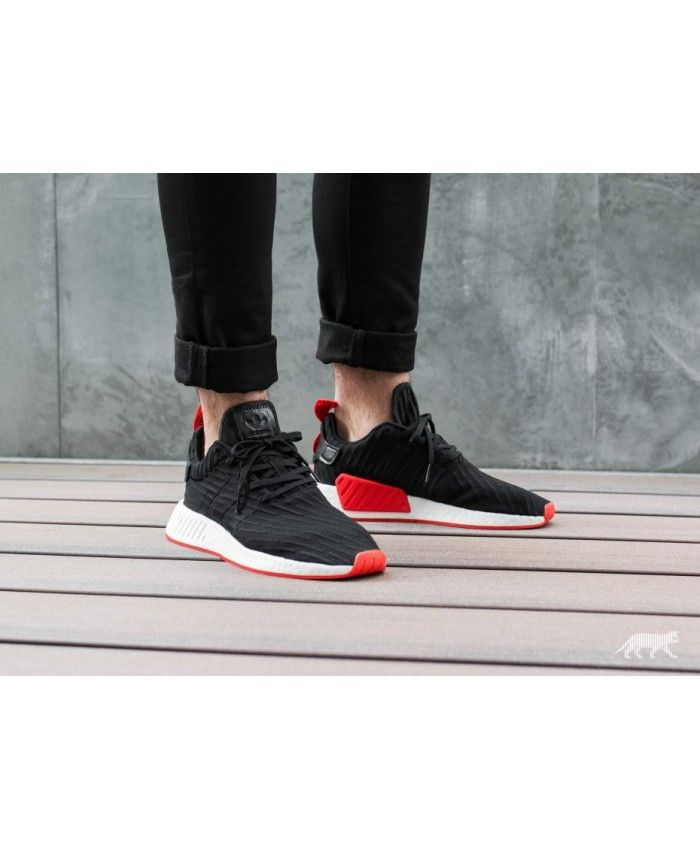 best sneakers 38847 e24ca Adidas NMD R2 Mens Trainers In Black Red UK