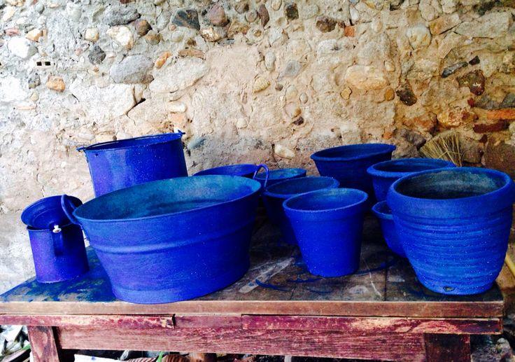 macetas Azul