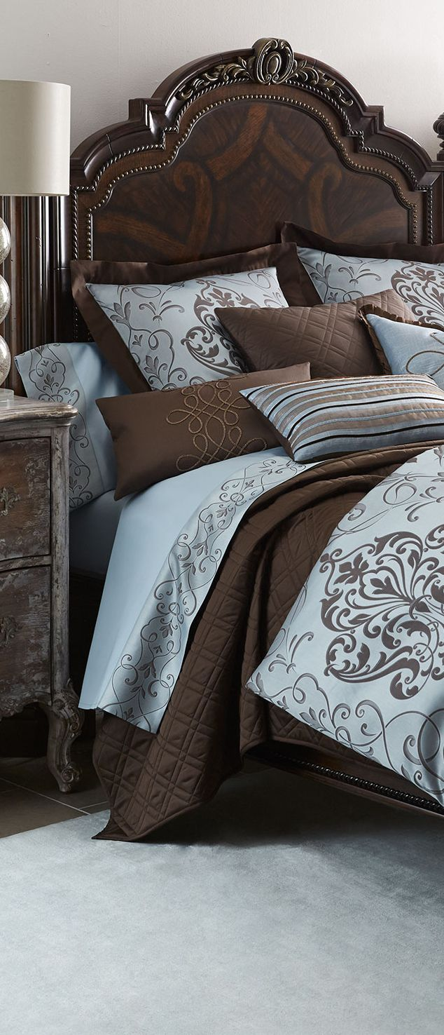 Eastern Accents Azure Luca Bedding.  Via @lunamiangel. #bedding #homedecor